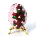 Red Roses on Pink Art Egg