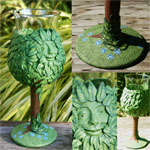 Green Man Wine Goblet or Glass